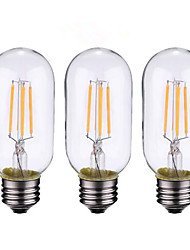 4W B22 E26/E27 LED Filament Bulbs 4 COB 500-600 lm Warm White 2700-3500 K Dimmable AC 220-240 AC 110-130 V 3pcs