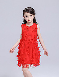 cheap -Girl's Beach Solid Floral Dress,Cotton Polyester Summer Sleeveless Floral Lace White Red Blushing Pink