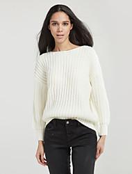 povoljno -Žene Jednobojni Dnevno Slatko Pullover Dugih rukava Okrugli izrez Zima Jesen