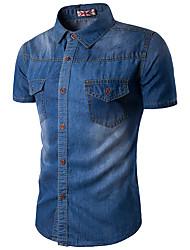 Camicia Da uomo Casual Semplice Estate,Tinta unita Colletto Cotone Rayon Blu Manica corta Sottile