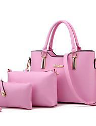 economico -Donna Sacchetti PU (Poliuretano) Tote Set di borsa da 3 pezzi per Casual Per tutte le stagioni Grigio scuro Blu chiaro Blu marino Rosa