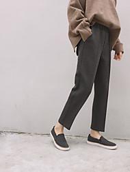 2016 новый зимний хорошие прямые ноги штаны эластичный пояс был разделен перекос девять свободные брюки костюм 2 цвета