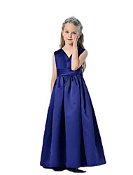 cheap -A-Line Floor Length Flower Girl Dress - Satin Sleeveless V-neck with Ruching by YDN