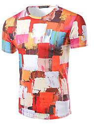 abordables -Tee-shirt Homme,Imprimé Sortie Habillées simple Actif Eté Manches Courtes Col Arrondi Blanc Coton Moyen
