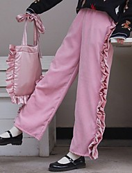 Women Korean retro Japanese wild loose waist lace wide leg trousers corduroy wood ear