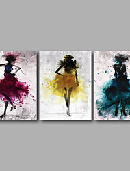 Stretched Canvas Print Three Panels Canvas Wall Decor Home Decoration Abstract Modern Girls Blue Yellow