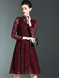 Burdully Going out Cute Lace DressSolid Lace Cut Out Deep V Above Knee Long Sleeve Polyester Red Green Spring Summer Mid Rise Inelastic
