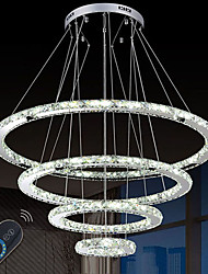 cheap -Dimmable LED Crystal Chandeliers Lights Remote Control Pendant Lamp Fixtures with 4 Ring D90705030 CE&UL&FCC