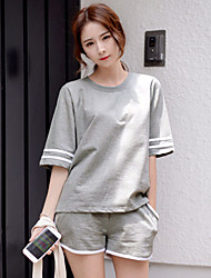 Korean version of casual sports suit female summer short-sleeve big yards loose jogging shorts sportswear piece