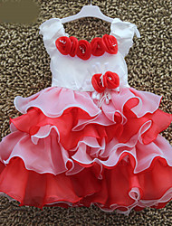 Kids Girls 3D Rose Applique Sweet Princess Layered Ruffles Ball Gown Pageant Cake Dress
