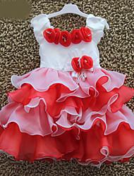 cheap -Kids Girls 3D Rose Applique Sweet Princess Layered Ruffles Ball Gown Pageant Cake Dress