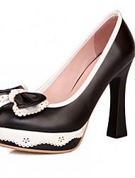 baratos -Mulheres Sapatos Courino Couro Ecológico Primavera Verão Conforto Inovador Saltos Caminhada Salto Robusto Ponta Redonda Laço para