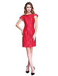 cheap -Sheath / Column Bateau Neck Short / Mini Lace Mother of the Bride Dress with Lace by LAN TING BRIDE®