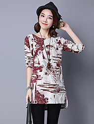 Women's Casual/Daily Vintage Simple Spring Fall T-shirt,Print Round Neck Long Sleeve Blue Red Green Cotton Linen