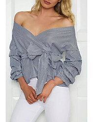 Women's Cut Out Off The Shoulder Going out Casual/Daily Simple Street chic Spring Fall T-shirt,Solid Striped Strapless ¾ Sleeve Cotton Medium