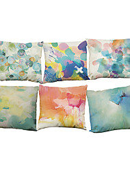 Set of 6 Printing pattern Linen Pillowcase Sofa Home Decor Cushion Cover