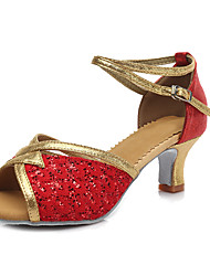 Scarpe da ballo-Personalizzabile-Da donna-Balli latino-americani-Tacco cubano-Finta pelle Vernice Brillantini-Rosso Argento Dorato Oro
