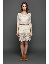 AliExpress explosion models in Europe and America openwork crochet lace dress hedging smock beach