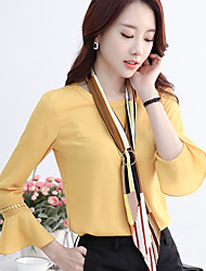 Sign 2017 spring new Korean female long-sleeved lace blouse chiffon shirt sleeve trumpet