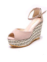 Women's Sandals Comfort Suede Summer Casual Walking Comfort Buckle Wedge Heel Black Fuchsia Light Pink 3in-3 3/4in
