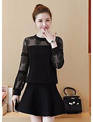 Lace shirt female 2017 spring new round neck long-sleeved shirt loose chiffon shirt Korean wild bottoming shirt tops