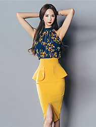 cheap -Korean version of the new summer dress sexy color stitching perspective package hip Slim sleeveless dress