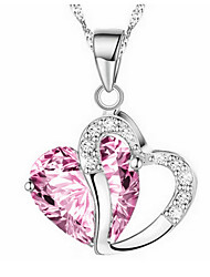cheap -Women's Girls' Heart Synthetic Diamond Pendant Necklace  -  Love Heart Purple Red Pink Necklace For Christmas Gifts Party Special Occasion