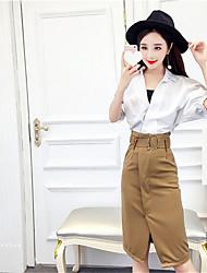 Nearby spring and summer Korean fashion loose big collar white shirt + skirt split package hip Slim