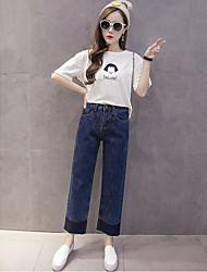 Знак корейской версии новой вспышки хитом цвет сшивание стиральная была тонкая талия широкие брюки ноги девять очков джинсы женские