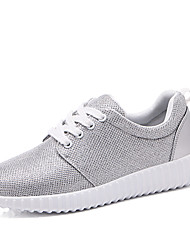 Women's Sneakers Spring Summer Mary Jane Fabric Outdoor Athletic Casual Flat Heel Sequin Lace-up Running