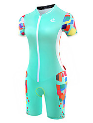 Malciklo Tenue de Triathlon Femme Manches Courtes Vélo triathlon/Combinaison Triathlon Design Anatomique Respirable zip YKK Compression