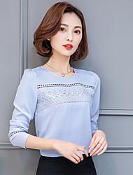 rund hals langærmet chiffon skjorte 2017 forår nye koreanske vilde bunden bred sang Leisi små skjortebluser