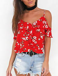Women's Going out Beach Sexy Sophisticated All Seasons Blouse,Print Strap Sleeveless Rayon Thin