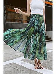 Women's Beach Holiday Maxi Skirts,Simple Swing Print Summer