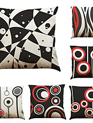 Set of 6 Abstract Geometric Pattern Pattern  Linen Pillowcase Sofa Home Decor Cushion Cover (18*18inch)