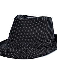 cheap -Men Jazz Striped printing Cotton Black Small Hat Beach Flat Top Shade Hat