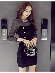 Sign Winter new perspective sexy lace stitching Slim single-breasted velvet dress slit
