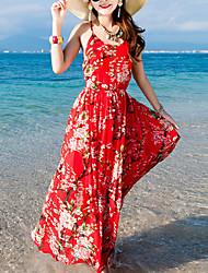cheap -Women's Beach Holiday Silk Bodycon Dress Print Maxi U Neck