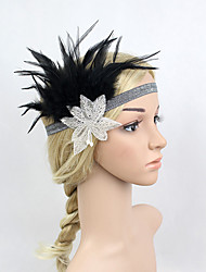 Women's Feather/Beads Elasticity Headpiece-Special Occasion/Party Flowers 1 Piece Black Headdress Hair Band Hair Accessories Black