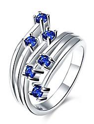 abordables -Femme Bague Zircon cubique Bleu de minuit Violet Rouge Zircon Cuivre Plaqué argent Alliage Forme Géométrique Fleur Personnalisé Fleur