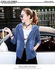 Недорогие -Для женщин Повседневные Весна Джинсовая куртка Капюшон,Простой На каждый день Однотонный Короткая Длинные рукава,Кожа