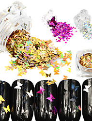 1Bottle Hot Sale Fashion Sweet Style Glitter Laser Butterfly Paillette Nail Bling Decoration Beautiful Butterfly Design Nail Sparkling Slice HD01-05