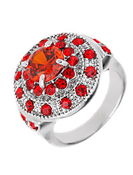 cheap -Women's Logo Band Ring - Zircon, Cubic Zirconia, Imitation Diamond Flower Luxury, Unique Design, Punk 6 / 7 / 8 / 9 / 10 Red For Wedding Party / Alloy
