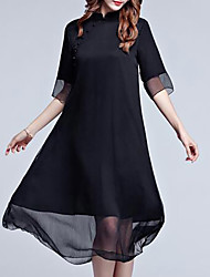 cheap -Women's Plus Size Casual Swing Dress - Solid Colored Stand