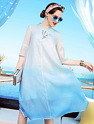 YENMEINAR Women's Casual/Daily Formal Holiday Sophisticated A Line DressSolid Round Neck Knee-length  Length Sleeve Silk Spring Summer Mid Rise