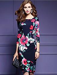 cheap -Women's Silk A Line Dress - Floral High Rise