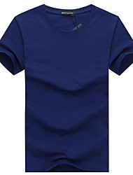 cheap -Men's Daily Sports Plus Size Casual Summer T-shirt,Solid Round Neck Short Sleeves Cotton Medium