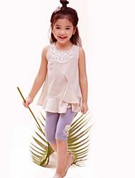cheap -Girls' Daily Solid Blouse, Cotton Linen Summer Beige