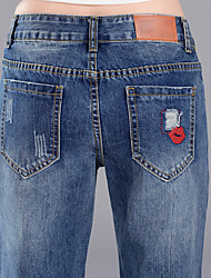 Harlan jeans female summer loose bf large size hole pantyhose child was thin embroidery