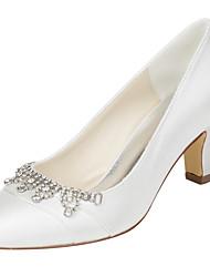 Da donna-Tacchi-Matrimonio Formale Serata e festa-Club Shoes-Quadrato-Raso elasticizzato-Avorio